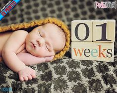 Wooden Baby Age Blocks  UV PRINTED  NO by PrettyInPolkaDotsky