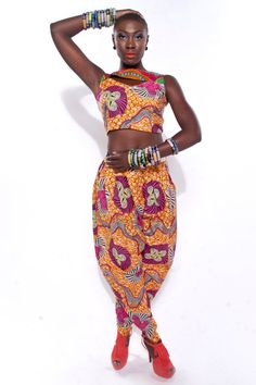 The Orange Bayinah Pants African Holland Wax. To pull these off though.. avant garde