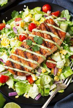 Mexican+Grilled+Salmon+Salad+with+Avocado+Greek+Yogurt+Ranch+Dressing