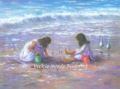 Two Sisters Beach Art Print two girls beach by VickieWadeFineArt
