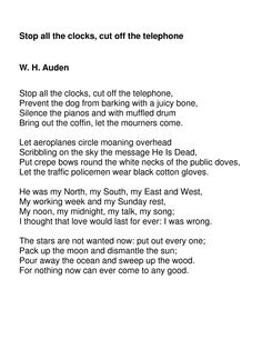 This is the most heart wrenching poem ever-from Four Weddings and a Funeral-I have seen that movie at least 6 times.