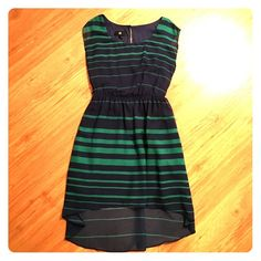 High low dress Navy and green high low dress. Hits just above the knee. Only worn twice! Great condition. Dresses High Low
