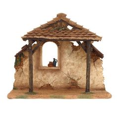 Stable Fontanini® Nativity Collection Resin tall x wide Fontanini Gold Christmas, Outdoor Christmas, Christmas Crafts, Christmas Decorations, Fontanini Nativity, Nativity Stable, Gnome Door, Nativity Crafts, Ceramic Houses