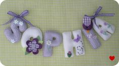 "nome em feltro ""sophia"" lilas Felt Wreath, Felt Garland, Felt Ornaments, Baby Crafts, Felt Crafts, Crafts To Make, Felt Name Banner, Felt Letters, Sewing Crafts"