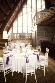 The Abbey Resort White And Purple Reception Je T Aime Photography Wedding Tables
