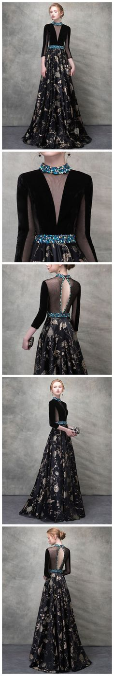 CHIC BLACK PROM DRESS A-LINE HIGH NECK 3/4 SLEEVE PRINT PROM DRESS EVENING DRESS AM948 #amyprom #fashion #promdress