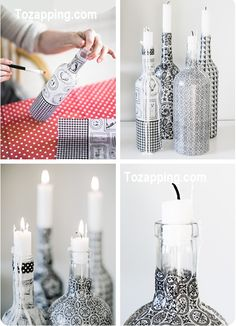 Upcycle glass bottles with decoupage paper // by Craft & Creativity Glass Bottle Crafts, Wine Bottle Art, Diy Bottle, Bottles And Jars, Glass Bottles, Painted Bottles, Bottle Candles, Liquor Bottles, Wine Craft