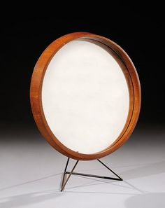 Joseph-André Motte; Teak Brass and Glass Table Mirror, c1960.
