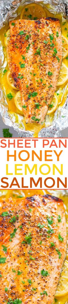 Sheet Pan Honey Lemon Salmon - Make salmon at home in 30 minutes that tastes BETTER than from a restaurant! EASY, tender, and packed with FLAVOR from the honey and lemon butter! (Seafood Recipes To Try) Salmon Dishes, Fish Dishes, Seafood Dishes, Fish And Seafood, Seafood Stew, Salmon Recipes, Fish Recipes, Seafood Recipes, Cooking Recipes