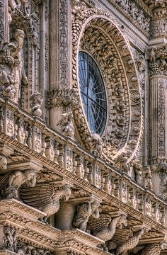 Incredible hand carved details on the Basilica di Santa Croce ~ Lecce, Italy
