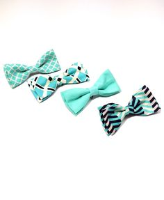 Turquoise baby boy bow tie. Baby boy Easter clip on bow tie. Hipster clip on bow tie by LovelyLittleBabies