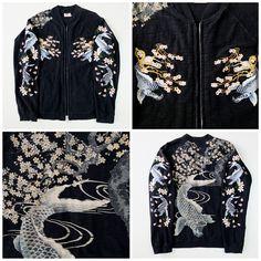 Vintage Japanese Koi Carp Fish Cherry Blossom Sakura Sukajan Souvenir Jacket - Japan Lover Me Store