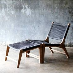 Isabelle Lounge Chair with Footrest features Eucalyptus wooden frame and a fishbone rope weave back as well as seat. Its seat is angled backwards to allow a mor