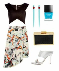 Try an artfully printed skirt — like this Zara style — teamed with a black crop top.