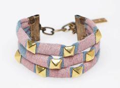 Studded Cuff Bracelet in Pale Pink on Slate
