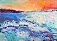 "Ellen Levine Dodd - ""Sea Foam"" - acrylic and mixed media on cradled wood panel - 46""w x 34""h - SOLD"