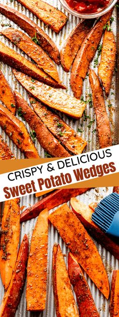 Crispy baked or air-fried Sweet Potato Wedges are seasoned with garlic, chili powder and Italian seasoning in this healthy and delicious appetizer or side dish recipe! It's a huge hit every time. #sweetpotatowedges #sweetpotatofries Crispy Sweet Potato Wedges, Seasoned Potato Wedges, Potato Wedges Baked, Side Dish Recipes, Veggie Recipes, Cooking Recipes, Easy Recipes, Healthy Recipes, Wedges Recipe