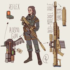 Some weapons from Fallout NV and 4 adapted for the classic series. Weapons for classic Fallout Character Design Sketches, Female Character Design, Character Design References, Character Design Inspiration, Character Concept, Character Art, Character Illustration, Fallout Fan Art, Fallout Concept Art