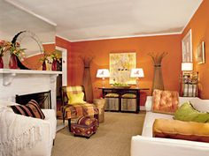 white - orange accent wall, lime green