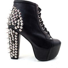 Jeffrey Campbell Lita Spike Platform Boot in Black ($190) ❤ liked on Polyvore featuring shoes, boots, heels, sapatos, zapatos, chunky black boots, lace up boots, black heeled boots, jeffrey campbell boots and platform boots