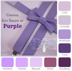 Boys Purple Bow Tie and Suspenders:  Choose ANY color of Purple, wisteria, plum, grape, lilac For our ring bearers. With grey pants and a white button up.