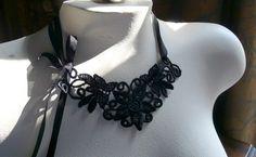 Black Venice Lace Applique for Lace Necklaces, Jewelry or Costume Design SBLA 400
