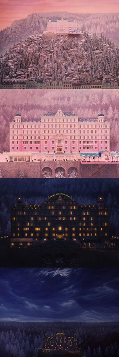 Combining miniatures and landscape paintings: these shots in the Grand Budapest Hotel are gorgeous. Production design by Adam Stockhausen.