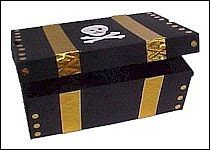 Kids will have fun creating this Shoe Box Pirate's Treasure Chest and then watch as they spend hours happy in pirate adventures. This craft can also be a center piece for a Pirate birthday party. Treasure Chest Craft, Pirate Treasure Chest, Treasure Boxes, Pirate Day, Pirate Birthday, Pirate Theme, Pirate Party Games, Birthday Cake, Pirate Crafts