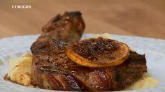 Μπριζόλες χοιρινες με πορτοκάλι   ΥΛΙΚΑ  2 κ.σ. σπορέλαιο  1 στήθος κοτόπουλο  4-5 μανιτάρια  3 φρ. κρεμμυδάκια  1 στικ lemongrass  1 κομμάτι γκαλάνγκαλ  1 κομμάτι τζίντζερ  2 καυτερές πιπεριές  1 ζωμό κότας  1 ντομάτα  Χυμό από ½ λάιμ  300 ml γάλα καρύδας  2 κ.σ. fish sauce  1 κ.γ. καστανή ζάχαρη  Κόλιανδρο  Βασιλικό   2 φύλλα kafir  1 ποτήρι νερό Steak, French Toast, Recipies, Cooking Recipes, Meals, Breakfast, Food, Figaro, Dessert