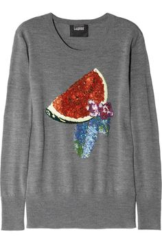 Gray mid-weight merino wool Multicolored sequined watermelon and flower design, ribbed trims Slips on merino wool Hand wash Steampunk Dress, Markus Lupfer, Sequin Sweater, Merino Wool Sweater, Cute Sweaters, Piece Of Clothing, Cool Shirts, Fashion Outfits, Clothes For Women