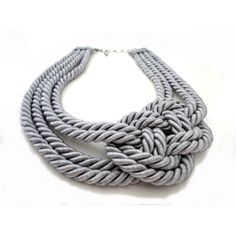 Grey Nautical Sailor's Knot Infinity Rope Necklace