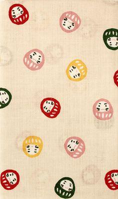 Japanese Tenugui Cotton Fabric, Kawaii Daruma, Tumbling Doll, Good-Luck Daruma Doll, Japanese Doll, Home Decor, Gift Idea, Headband, h536