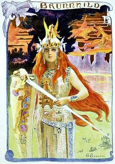 """The Northern Grove Brynhildr (sometimes spelled Brünnhilde) is a shieldmaiden and valkyrie in Norse mythology.  Under the name Brünnhilde she appears in Richard Wagner's opera cycle Der Ring des Nibelungen. ..  art: """"Brynhild"""" (1897) by G. Bussière"""