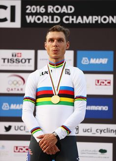 Gold medalist Tony Martin of Germany stands on the podium during the medal ceremony for the Men's Elite Individual Time Trial on Day Four of the UCI...