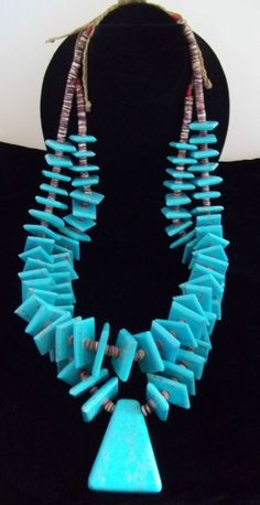 Estate Turquoise and Shell Necklace HUGE Double Strand ST463