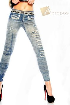 Leggings Jeggings Treggins Stretch Strumpfhose Blau Grau OS 34- 38