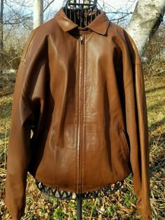530d2e9f347 POLO Ralph Lauren 100% Lambskin Men s Brown Leather Flight Jacket Large  Sharp  PoloRalphLauren