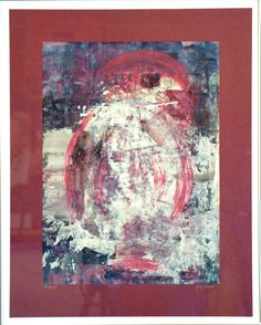 """Birdy"" Collage, Painting, Art, Paper, Red Moon, Abstract Landscape, Vase For Flowers, Canvas Frame, Canvas"