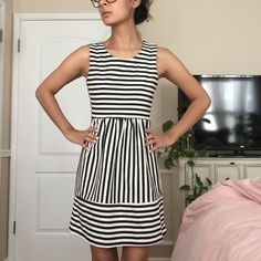 Black and white striped a-line dress Black and white striped a-line dress. Back zipper. Adorable dressed up with heels or down with sneakers. Tagged urban outfitters for attention Urban Outfitters Dresses Mini