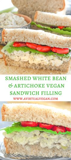 Creamy Smashed White Bean & Artichoke Vegan Sandwich Filling with hints of rosemary & lemon. Fresh, delicious & so easy to make! via (Vegan Sandwich Recipes) Vegan Lunches, Vegan Foods, Vegan Dishes, Vegan Snacks, Vegan Sandwich Filling, Sandwich Bar, Vegetarian Sandwich Fillings, Vegan Sandwich Recipes, Sandwich Spread