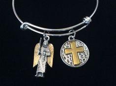Archangel Michael Silver Gold Expandable Charm Bracelet Inspirational Catholic Jewelry Adjustable Bracelet