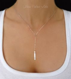 Sterling Silver Bar Necklace For Women, Long Y Vertical Bar Necklace Gold, Dainty Long Hammered Vertical Pendant Drop Rose Gold Jewelry Gift - Vertical Bar Skinny Bar Rose Gold Necklace Silver Necklace - Silver Jewelry Cleaner, Rose Gold Jewelry, Sterling Silver Jewelry, Gold Jewellery, 925 Silver, Jewelery, Dress Jewellery, Silver Bar Necklace, Lariat Necklace