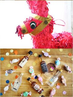 "Piñata filled with mini liquor bottles for the bachelorette party! - KC Bachelorette IDEAS! Thanks Kayce! Just need to find the right ""peen""iata... if you catch my drift..."