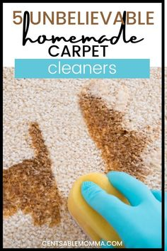 Do you have a spot on your carpet that's dirty, but you don't want to use hazardous chemicals to clean it, try these 5 unbelievable homemade carpet cleaner hacks to get your carpet looking new again. Cleaning Hacks, Diy Cleaning Products, Carpet Cleaners, Spring Cleaning, Carpet Stains, Homemade, Household Tips, Baking Soda, You Got This