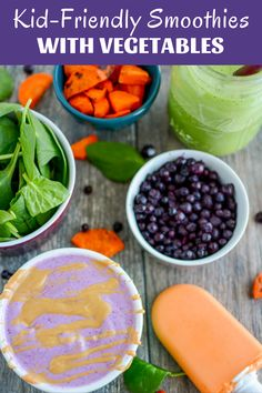 These kid-friendly smoothies with vegetables are perfect for snack time. Packed with carrots, spinach or cauliflower, both kids and adults will love these simple, healthy smoothies or popsicles.  #smoothies #kidfriendly