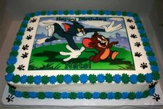 Tom & Jerry Birthday Cake Birthday cake for a Co-workers Son. He just loves Tom & Jerry! Cartoon Birthday Cake, Birthday Sheet Cakes, Safari Birthday Party, 6th Birthday Parties, Baby Birthday, Birthday Ideas, Birthday Celebration, Tom And Jerry Photos, Tom And Jerry Cake