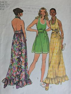 Uncut Size 8 Bust 31 Back Wrap and Tie Dress Simplicity 5683 Vintage Sewing Pattern Maxi Backless Ruffled Mini Sun Prom Simplicity Sewing Patterns, Vintage Sewing Patterns, Dress Patterns, Print Patterns, Clothes Patterns, Wrap Tie Dress, Mode Vintage, Vintage 70s, Pattern Fashion