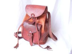 RUSTIC Brown LEATHER BACKPACK Purse by HousewifeVintage on Etsy, $46.00