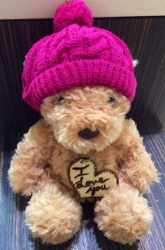 Personalized/Engraved wooden heart teddy bear for child/friend/loved one