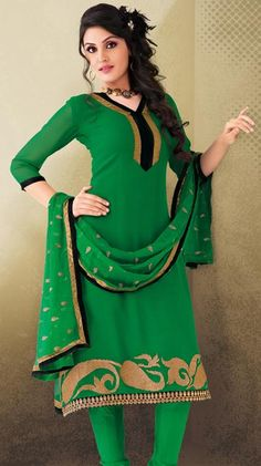 $58.38 Green Stone Work Cotton Churidar Salwar Kameez 23931